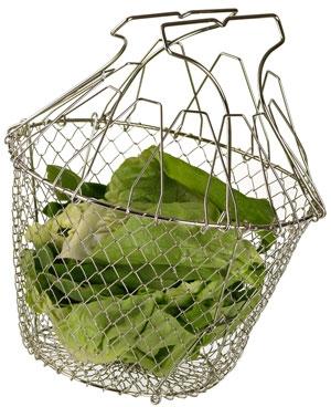 Panier salade inox pliant essorage manuel cuisin 39 store - Essoreuse salade pliable ...