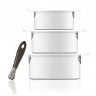 3 Casseroles Plug & Play Evergreen White + 1 Poignée Aubecq