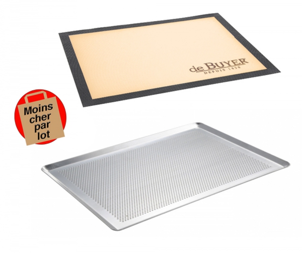 Lot plaque à pâtisserie perforée + Tapis de cuisson perforé De Buyer