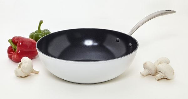 Wok céramique Evergreen white Aubecq